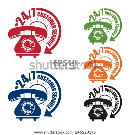 24/7 customer service sticker, badge, icon, stamp, label, banner, sign  isolated on white, vector format - stock vector