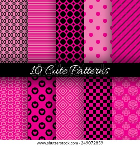 10 Cute abstract geometric bright seamless patterns. Vector illustration for attractive design. Endless texture can be used for fills, web page background, surface. Pink and black colors. - stock vector