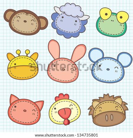 Cute animals head clip art A - stock vector