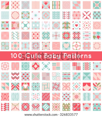 100 Cute Baby Seamless Pattern Retro Pink White And Blue Colors Texture For