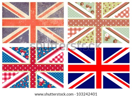 4 Cute British Flags in Shabby Chic floral and vintage style - stock vector