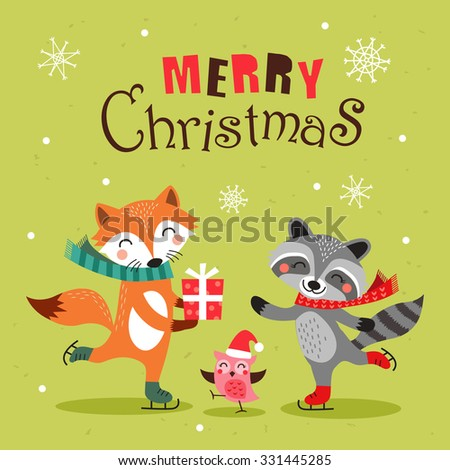 Cute cartoon christmas card, banner and poster design. Vector illustration. - stock vector