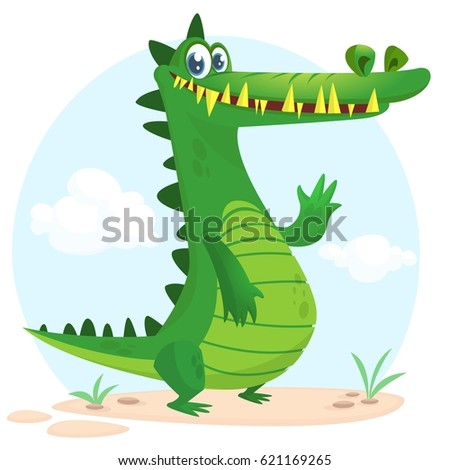 Cute cartoon crocodile character. Wild jungle animal collection. Baby education. Isolated. White background. Vector illustration