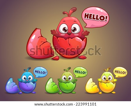 Cute cartoon newborn chick in the egg - stock vector