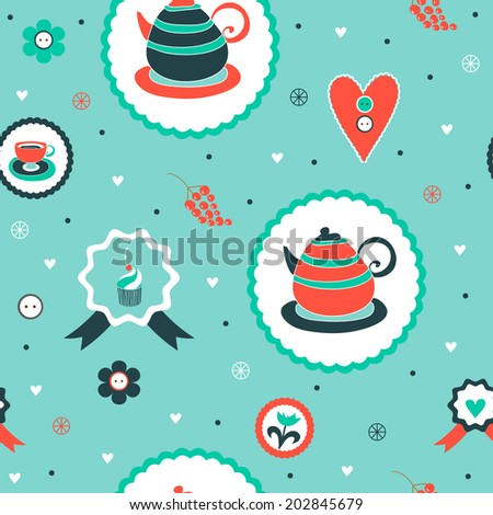 Cute cartoon vintage seamless pattern with teapots and cups in vector. Pattern can be used for surface textures, wallpaper, pattern fills, web page background.  - stock vector