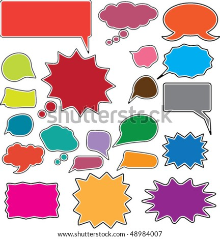 20 cute color speech & thought bubbles. vector