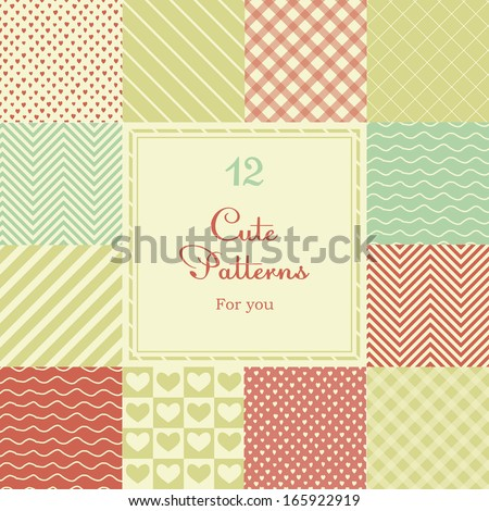 12 Cute different vector seamless patterns (tiling). Pink, red and blue color. Endless texture can be used for printing onto fabric and paper or scrap booking. Heart, stripes, rhombus, chevron. - stock vector