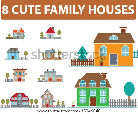 8 cute family houses. vector - stock vector