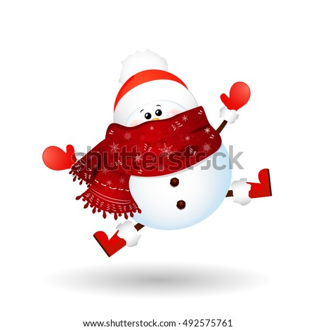 Cute, funny  Snowman  feeling excited isolated on white background. vector cartoon illustration.