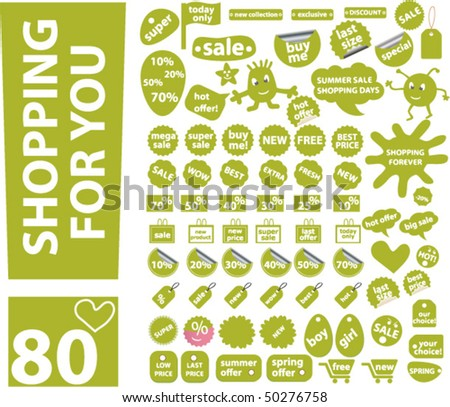 80 cute green shopping stickers. vector