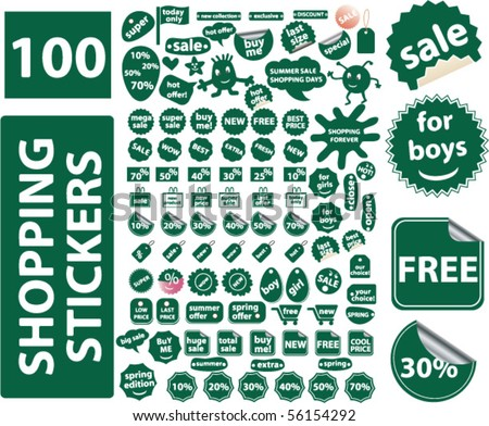 100 cute green shopping stickers. vector - stock vector