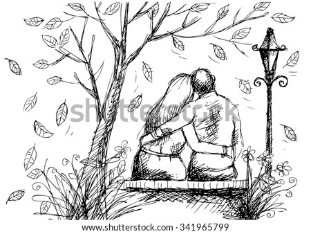 cute hand drawn style couple sitting on bench  - stock vector