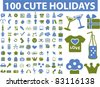 100 cute holidays set icons, signs, vector illustrations - stock vector