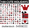100 cute holidays signs. vector - stock vector