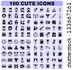 100 cute icons - stock vector