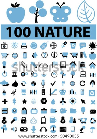 100 cute nature signs. vector - stock vector