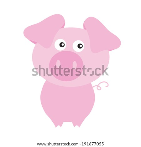 Cute pig farm vector illustration