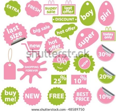 20 cute pink-green shopping stickers. vector