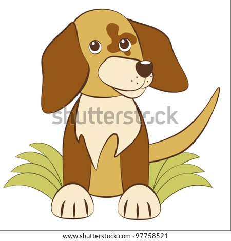 Cute puppy sits on a grass(vector) - stock vector