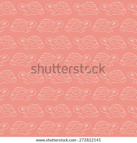 Cute seamless pattern of stylized  turtles in cartoon style, white color on a pink background. Hand-drawn vector illustration. Can be used for cards, wallpaper, kids design. - stock vector