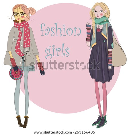 2 cute teen girls dressed in fashion clothes.  - stock vector