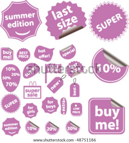 20 cute violet shopping stickers. vector