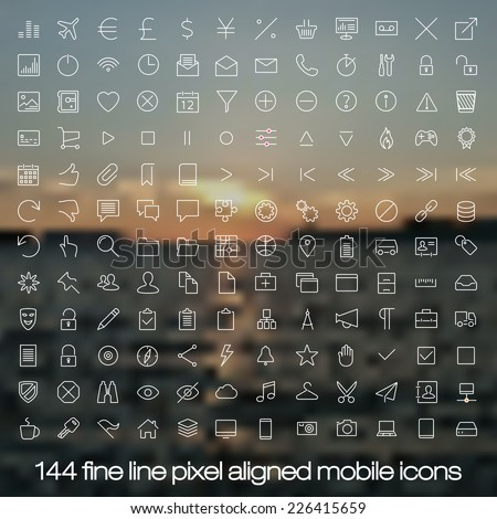 144 cutting edge modern icons for mobile interface on blurred background. Fine line pixel aligned mobile ui icons with variable line width.  - stock vector