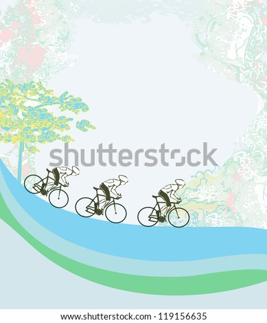 Cycling Grunge Poster Template - stock vector