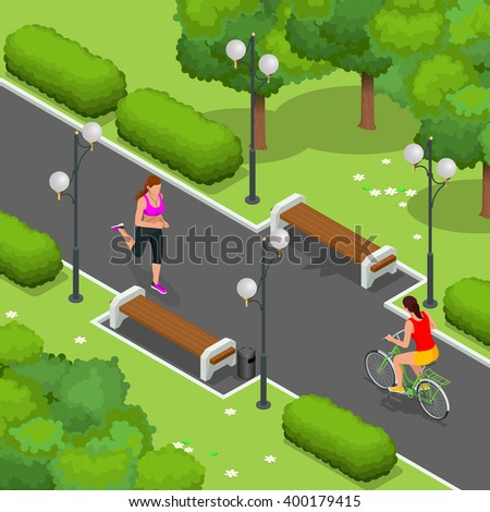 Cyclists on bicycle in park and woman running. Riding bicycle outdoors at summer.  Fitness, sport, people and healthy lifestyle concept. Flat 3d vector isometric illustration. - stock vector