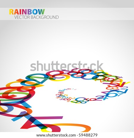 3D abstract background with colorful rainbow numbers