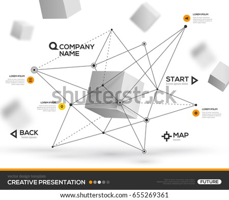 3D abstract background with cube particles and geometric triangle shapes. Vector design layout for business presentations, flyers, posters. Scientific future technology background.