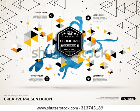 3D abstract background with paint stain and geometric pentagone shapes. Vector design layout for business presentations, flyers, posters. Scientific future technology background. Geometry polygon. - stock vector