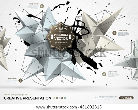 3D abstract background with paint stain and geometric polygonal element.  Infographic design layout for business presentations, flyers, websites and posters. Vector template with icons and options. - stock vector