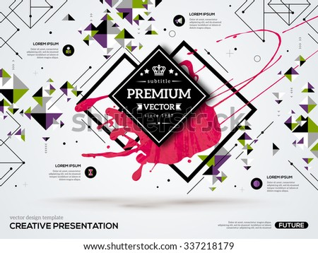 3D abstract background with paint stain and geometric rhombus shapes. Vector design layout for business presentations, flyers, posters. Scientific future technology background. Geometry polygon. - stock vector