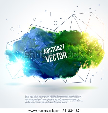3D abstract background with paint stain and geometric shapes. Vector design layout for business presentations, flyers, posters. Lights, sparkles. Blue, green, yellow colors. - stock vector