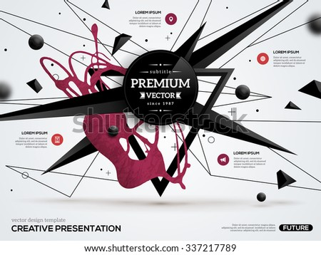 3D abstract background with paint stain and geometric shapes. Vector design layout for business presentations, flyers, posters. Scientific future technology background. Low polygon. Geometry polygon. - stock vector