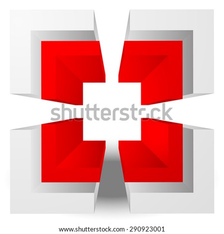 3d abstract crosshair, reticle, target mark graphics. editable. - stock vector