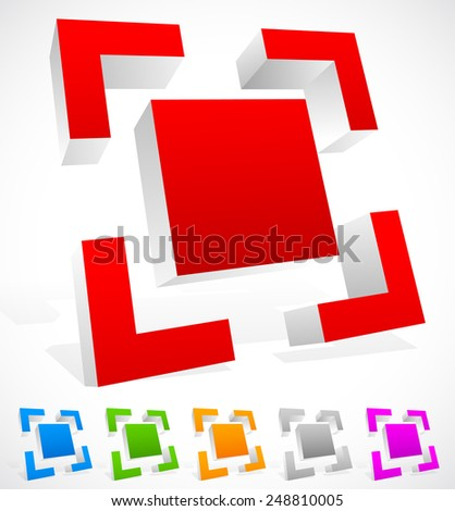 3d Abstract Edgy object. Target mark, viewfinder or generic symbol. 6 colors included - stock vector