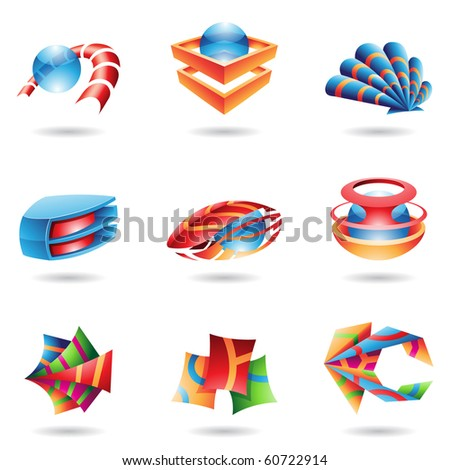 3D abstract icons in various colors - stock vector