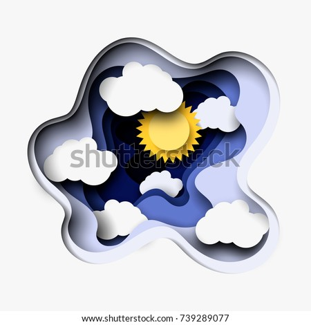 3 d abstract layered paper cut illustration stock vector royalty