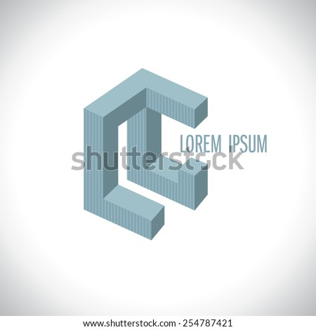 3D abstract logo template resembling letters L and G or L and C. - stock vector