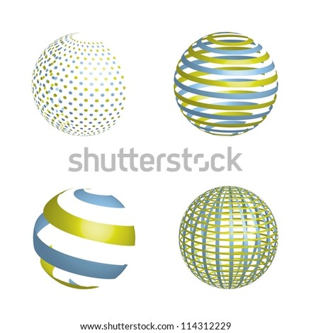 3d abstract planets isolated over white background. vector - stock vector