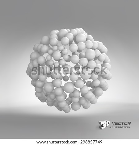 3d abstract spheres composition. Vector illustration. Can be used for presentations and design.