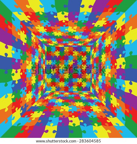 3d abstract vector rainbow color puzzle jigsaw room background - stock vector