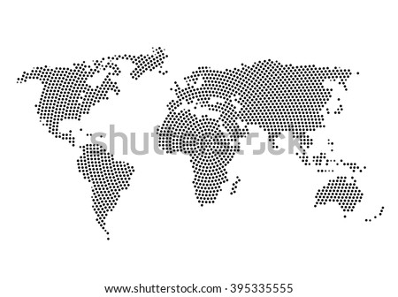 3d abstract world map planet, dot, global radial halftone concept. - stock vector