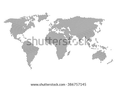 3d abstract world map planet, lines, global world map halftone concept. infographic, icon. - stock vector