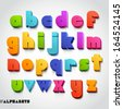 3D alphabet colorful font style. Vector illustration. - stock