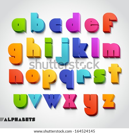 3D alphabet colorful font style. Vector illustration. - stock vector