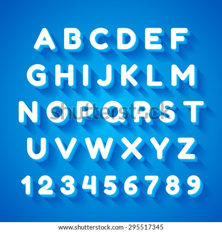 3d alphabet font with flat long shadow effect. Vector illustration. Blue background - stock vector