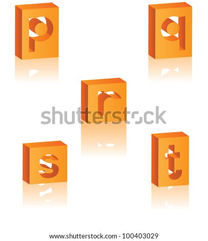 3D Alphabet Icon Symbol Set P Q R S T EPS 8 vector, grouped for easy editing. - stock vector